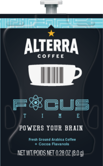 Alterra Coffees for Flavia Creation Drinks Station by Mars  €  Coffee lovers paradise of variety, easy use, & no coffee mess!  Experience all the benefits of coffee without the hassles with our full selection of Alterra Coffees filterpacks. - Focus Time Coffee - A207