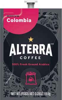 Alterra Coffees for Flavia Creation Drinks Station by Mars – Coffee lovers paradise of variety, easy use, & no coffee mess!  Experience all the benefits of coffee without the hassles with our full selection of Alterra Coffees filterpacks. - Colombia - A180