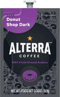 Alterra Coffees for Flavia Creation Drinks Station by Mars – Coffee lovers paradise of variety, easy use, & no coffee mess!  Experience all the benefits of coffee without the hassles with our full selection of Alterra Coffees filterpacks. - Donut Shop Dark - A206
