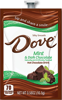 Cappuccinos, Mochaccinos & Hot Chocolate for the Mars Flavia Drink Station or Creation 500 Coffee Brewer.  Our wide selection keeps the variety coming for those many coffee lovers you want to please! - Dove Mint & Dark Hot Chocolate - K125