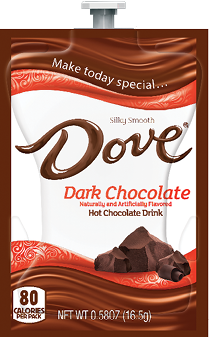 Cappuccinos, Mochaccinos & Hot Chocolate for the Mars Flavia Drink Station or Creation 500 Coffee Brewer.  Our wide selection keeps the variety coming for those many coffee lovers you want to please! - Dove Dark Hot Chocolate - A124