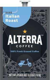 Alterra Coffees for Flavia Creation Drinks Station by Mars  €  Coffee lovers paradise of variety, easy use, & no coffee mess!  Experience all the benefits of coffee without the hassles with our full selection of Alterra Coffees filterpacks. - Italian Roast - A186