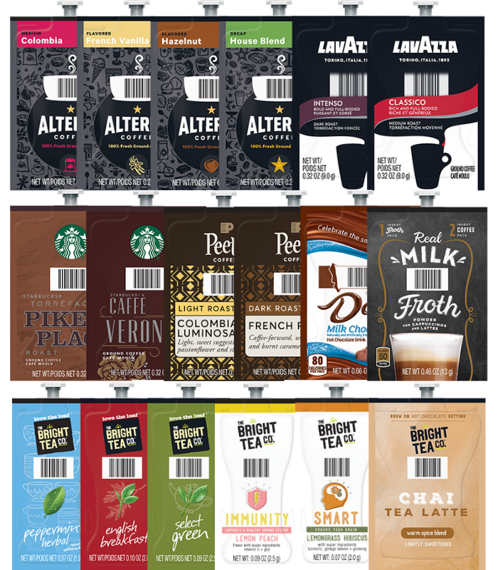 Alterra Coffees for Flavia Creation Drinks Station by Mars. Coffee lovers paradise of variety, easy use, & no coffee mess!  Experience all the benefits of coffee without the hassles with our full selection of Alterra Coffees filterpacks. - Large Flavia Sampler Kit - 356 Freshpacks