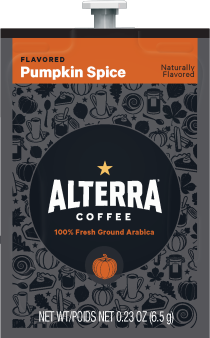 Alterra Coffees for Flavia Creation Drinks Station by Mars  €  Coffee lovers paradise of variety, easy use, & no coffee mess!  Experience all the benefits of coffee without the hassles with our full selection of Alterra Coffees filterpacks. - Pumpkin Spice coffee - A300